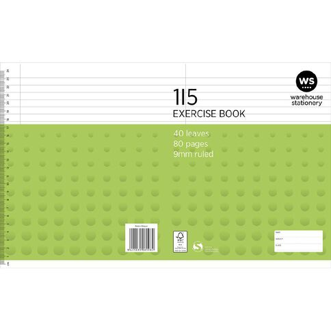 WS Exercise Book 1I5 9mm Ruled 40 Leaf Green