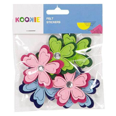 Kookie Felt Stickers Multi-Coloured 6 Pack