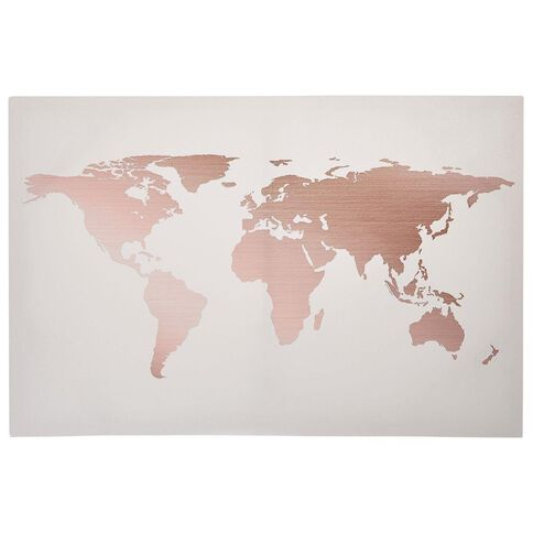 Uniti Rose Crush Canvas World Map 90cm x 60cm x 100