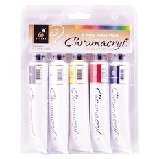 Chromacryl Students Acrylic Tube Set 5 x 75ml Multi-Coloured