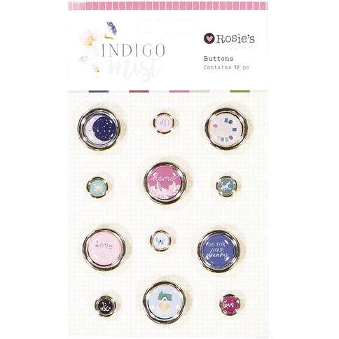 Rosie's Studio Indigo Mist Buttons Gold 12 Piece