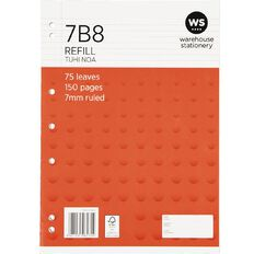 WS Pad Refill 7B8 A4 7mm Ruled 75 Leaf Punched Red