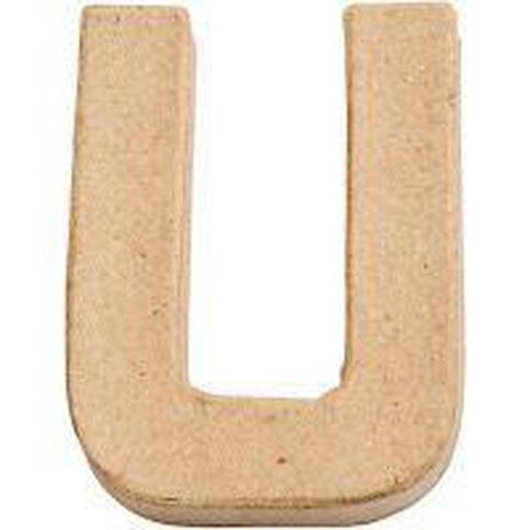 Paper Mache Alphabet Small Symbol U 10cm Brown