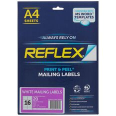 Reflex Mailing Labels 16 Per Sheet 20 Pack A4