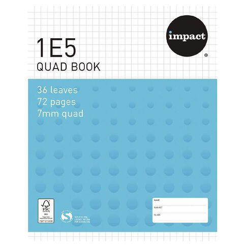 Impact Exercise Book 1E5 7mm Quad 36 Leaf Blue