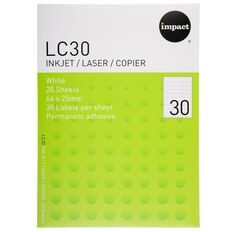 Impact Labels 20 Sheets A4/30 White