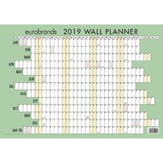 Eurobrands Wall Planner 2019 Laminated 420mm x 600mm A2
