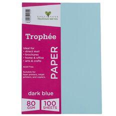 Trophee Paper 80gsm 100 Pack Blue Dark A4
