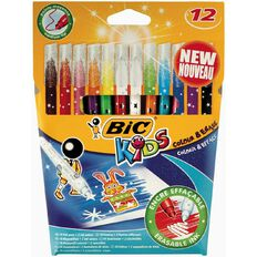 Bic Kids Colour & Erase Felt Pens 12 Pack Multi-Coloured