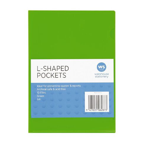 WS L-Shaped Pockets 10 Pack Green A4