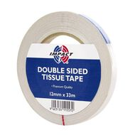 Impact Double Sided Tissue Tape 12mm x 33m Large Core Clear