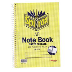 Spirax Notebook Spiral No.570 200pg 7mm Ruled Yellow A5