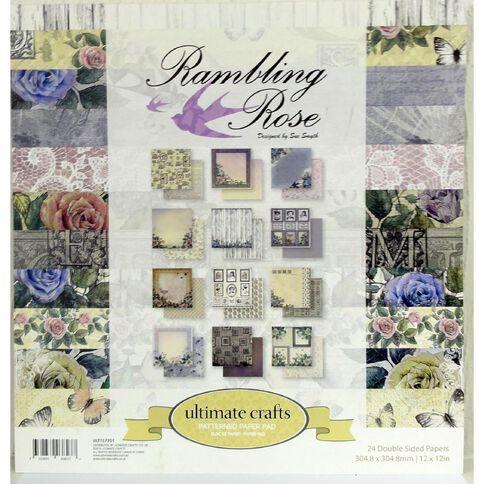 Ultimate Crafts Rambling Rose Paper Pad 12 x 12 24 Sheets