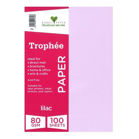 Trophee Paper 80gsm 100 Pack Lilac Purple A4