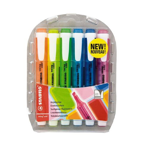 Stabilo Highlighter Swing Cool 6 Pack Multi-Coloured