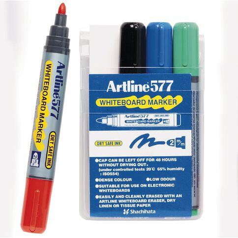 Artline Marker 577 Whiteboard Bullet 4 Pack Mixed Assortment