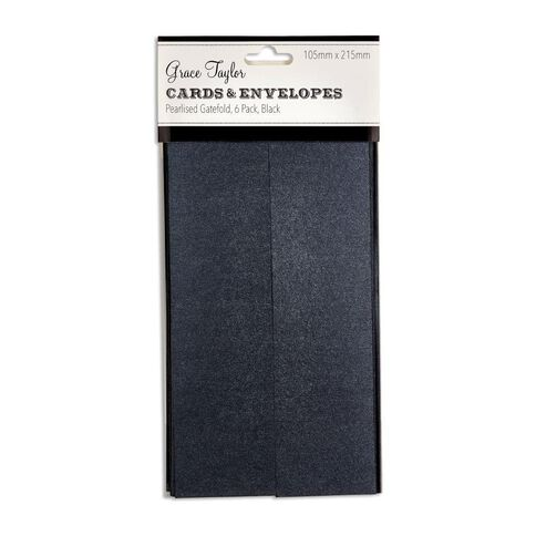 Grace Taylor Cards and Envelopes Gfold 105x215 6 Pack Pearl Charcoal