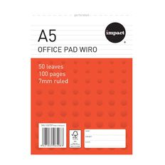 Impact Wire-O Notepad 80gsm 7mm 50 Leaf White A5