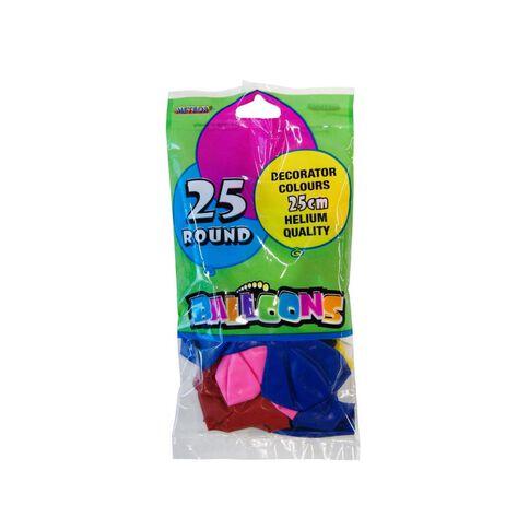Meteor Balloons 25 Pack Assortment Plain 25cm