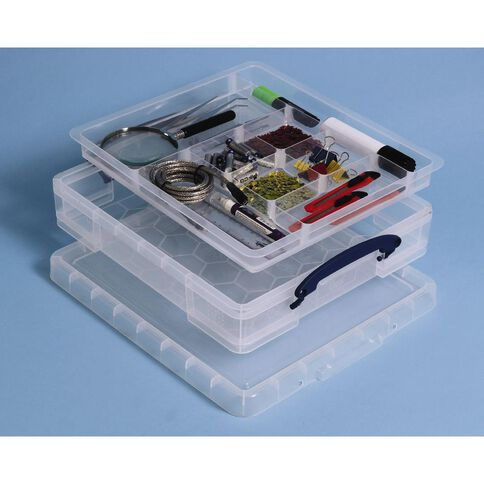 Really Useful Box Plastic Craft Storage 13 x 12 With Tray Clear