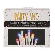 Party Inc Plug In String Lights White Wire 200 LED Multi-Coloured