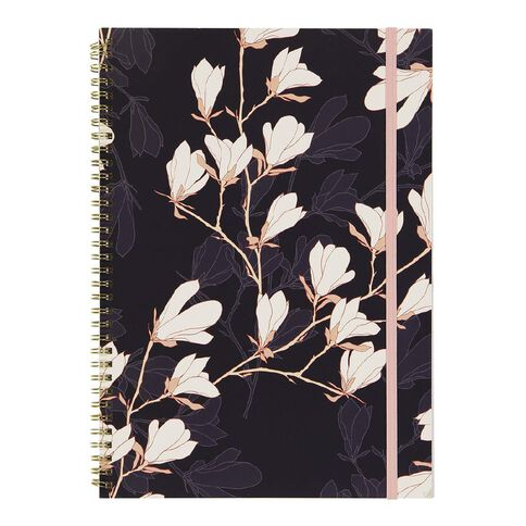 Uniti F&F Softcover Spiral Embossed Notebook Navy with White Flowers A4