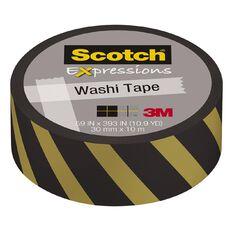 Scotch Washi Craft Tape 15mm x 10m Gold and Black Lines