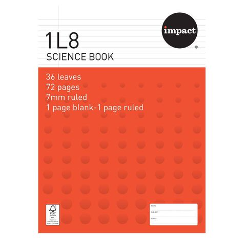Impact Exercise Book 1L8 Science Book 7mm Ruled 36 Leaf