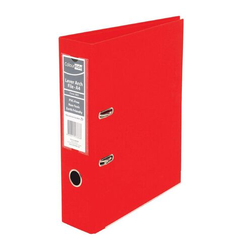 ColourHide Linen Lever Arch File Red A4