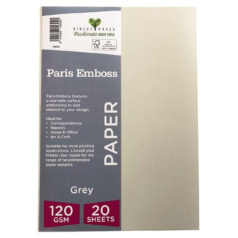 Direct Paper Paris Emboss 120gsm A4 20 Pack Grey