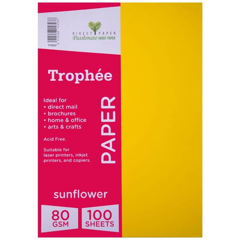 Trophee Paper 80gsm 100 Pack Sunflower Orange A4