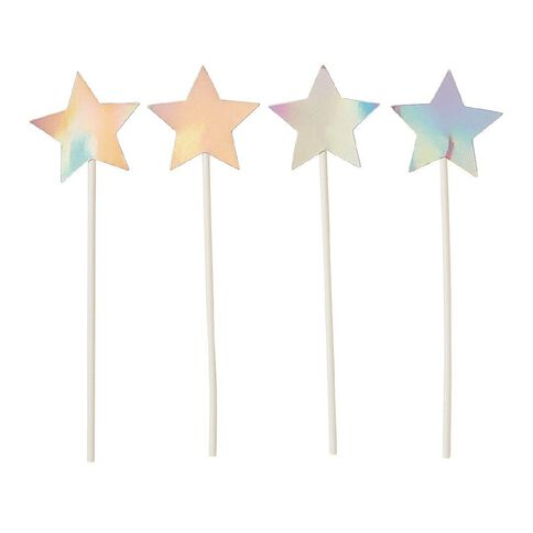 Artwrap Iridescent Stars Cake Toppers 4 Pack
