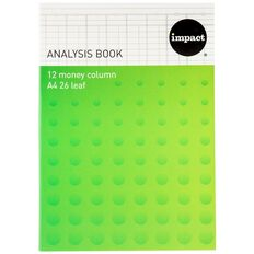 WS Analysis Book Limp 12 Column Green A4