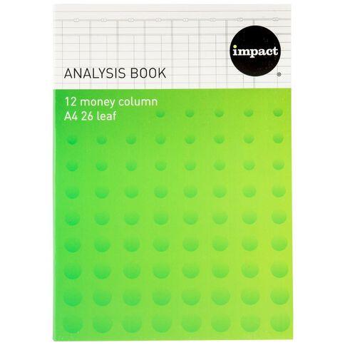 WS Analysis Book Limp 12 Column Green A4