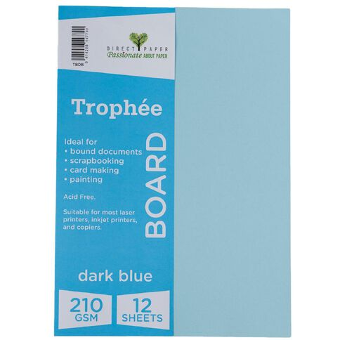 Trophee Board 210gsm 12 Pack Blue Dark A4