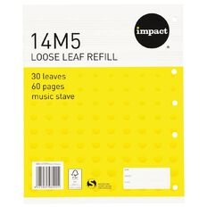 WS Pad Refill 14M5 Music Stave 30 Leaf Punched Yellow