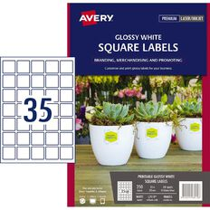 Avery Glossy Square Labels White 350 Labels