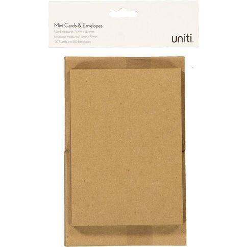 Uniti Mini Cards & Envelopes Mini Kraft 50 Pack