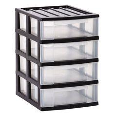 Taurus Storage Drawers 4 Tier Grey A4
