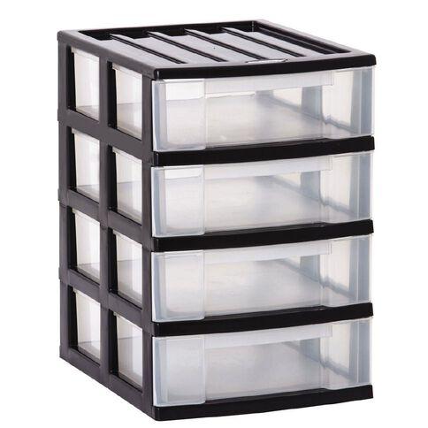 Taurus Storage Drawers A4 Grey 4 Tier