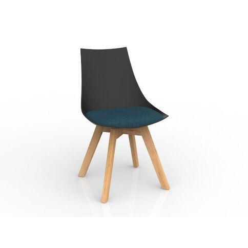 Luna Black Deep Blue Oak Base Chair Black/Blue