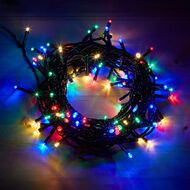 Christmas Plug-in String Lights Multi-Coloured Dark Wire 200 LED