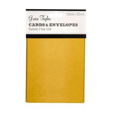 Grace Taylor Cards & Envelopes 15 x 10cm 5 Pack Pearl Gold