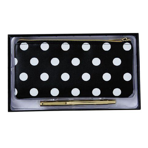 Uniti Black&Gold Stationery Set PU Pencil Case & Ball Pen