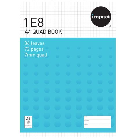 Impact Exercise Book 1E8 7mm Quad 36 Leaf Blue