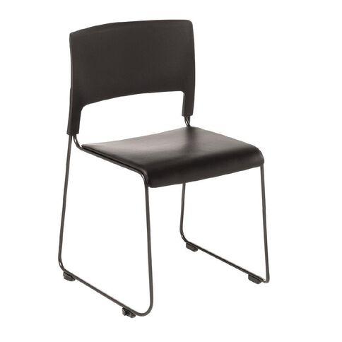 Eden Slim Stacker Chair with Vinyl Seat Upholstery Black