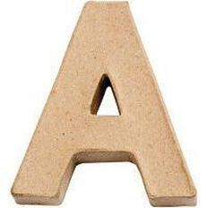 Paper Mache Alphabet Small Symbol A 10cm Brown