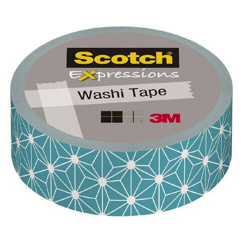 Scotch Washi Craft Tape 15mm x 10m Teal White Stars