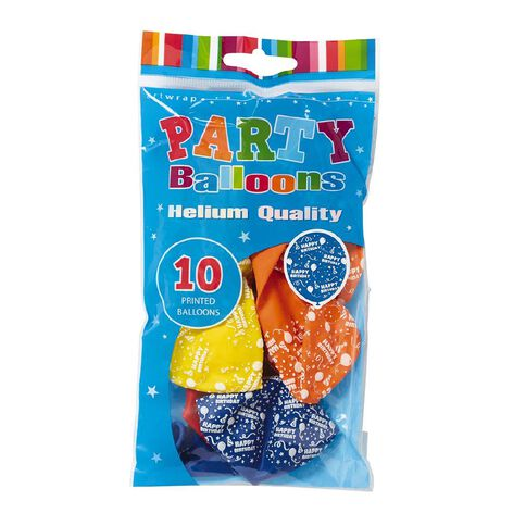 Artwrap Helium Balloons Happy Birthday Print 30cm 10 Pack