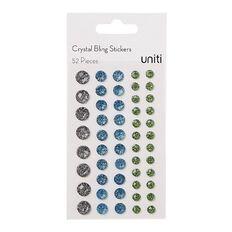Uniti Bling Crystal Sticker 52 Pieces Blue